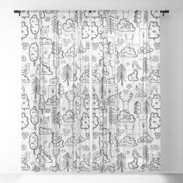 Woodland Animals Large Sheer Curtain