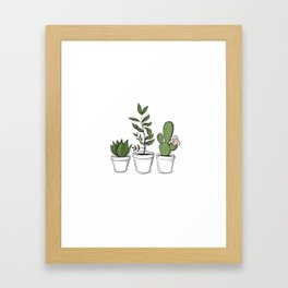 Three Little Succulents Framed Art Print