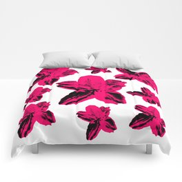 Hot pink tropical floral pattern Comforters