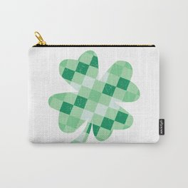 Checkered Shamrock. Four Leaf Clover. St Patrick's Day Carry-All Pouch