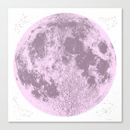 Pink Full Moon Print, by Christy Nyboer Canvas Print