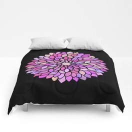 Flower Mandala Rose Gold And Purple Comforters