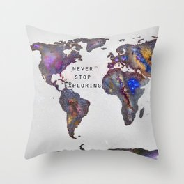 Star map. Never stop exploring... Throw Pillow