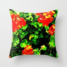 Red Flowers (Edited)  Throw Pillow