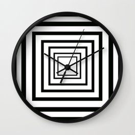 Concentric Squares Black and White Wall Clock
