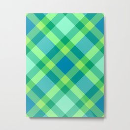 Mid-Century Modern Plaid, Jade Green, Turquoise and Blue Metal Print