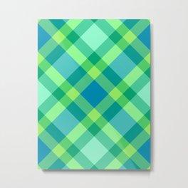 Mid-Century Modern Plaid, Jade Green, Turquoise and Blue Metal Print