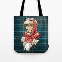 ironman Tote Bags featuring Ironman by Fernando Cano Zapata