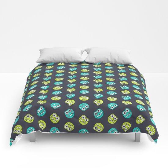 Blue Green Cute Bugs Pattern Comforters