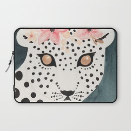 Flower Crown Leopard Laptop Sleeve
