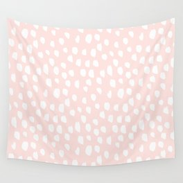 Hand drawn dots on pink - Mix & Match with Simplicty of life Wall Tapestry