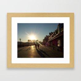 Couple On A Boardwalk Framed Art Print