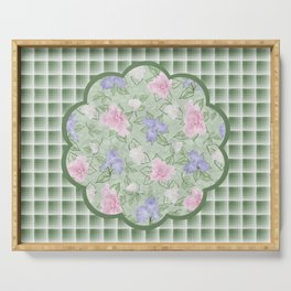 Flower Play Antique Pink Lavender on Green Plaid Serving Tray