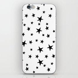 Stars - Black on White iPhone Skin