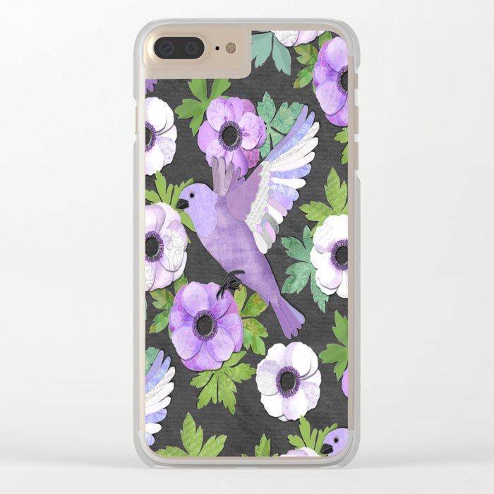 Purple Paper Anemone Collage Clear iPhone Case