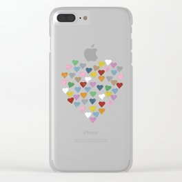 Distressed Hearts Heart Black Clear iPhone Case