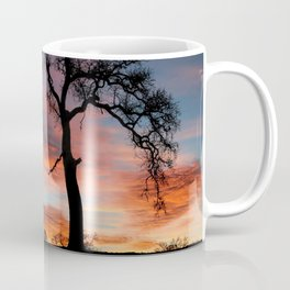 Beautiful Oak Tree In Colorful Southwestern Red, Yellow and Blue Sunrise Coffee Mug
