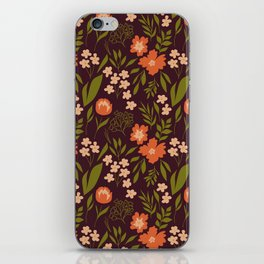 Warm Dark Floral iPhone Skin