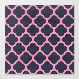 pink and navy clover Canvas Print