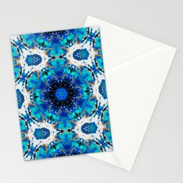 Ripples (Blue, White, Black & Gold Acrylic - 60° Kaleidoscope Pattern Small) Stationery Cards