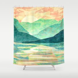 Spring Sunset over Emerald Mountain Landscape Painting Shower Curtain
