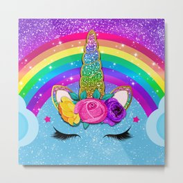 Rainbow Sparkle Unicorn Metal Print