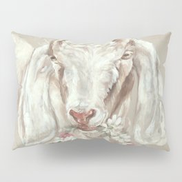 Goat with Floral Wreath by Debi Coules Pillow Sham