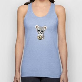 White Tiger Cub With Football Soccer Ball Unisex Tank Top