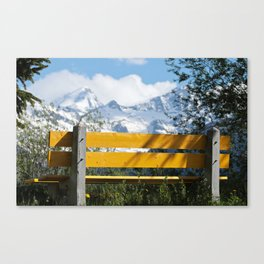 Bench and Mountain Landscape Canvas Print
