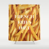 french fries Shower Curtains featuring French Fries Diet by Coconuts & Shrimps