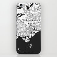 singapore iPhone & iPod Skins featuring Singapore Map Gray by City Art Posters
