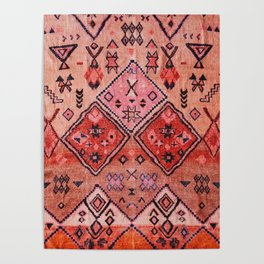N52 - Pink & Orange Antique Oriental Traditional Moroccan Style Artwork Poster