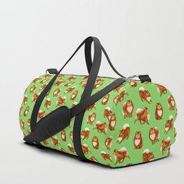 Pomeranian Pattern (Green Background) Duffle Bag