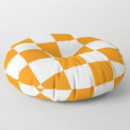 Large Checkered - White and Orange Floor Pillow