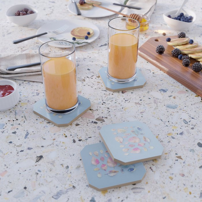 Water Colour Leaves Coaster