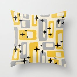 Retro Mid Century Modern Abstract Pattern 226 Yellow and Gray Throw Pillow