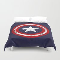 bucky Duvet Covers featuring Captain's America splash by Sitchko Igor