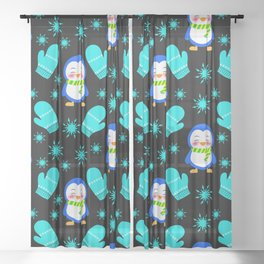 Cute smiling little baby penguins with warm woolen scarves, blue knitted mittens winter pattern Sheer Curtain