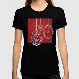 Silver lace hanging eggs on vibrant red background T-shirt