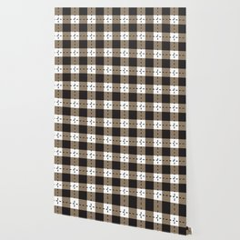 Back white and beige plaid pattern Wallpaper