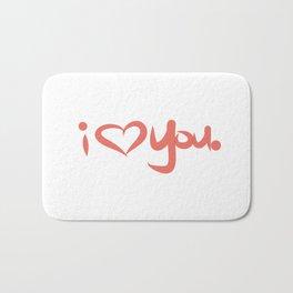 I Love You in Peach Bath Mat