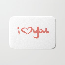 I Love You in Peach Bath Mat