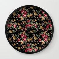 vintage flowers Wall Clocks featuring Vintage Flowers by Eduardo Doreni