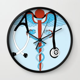 medical caduceus and stethoscope Wall Clock