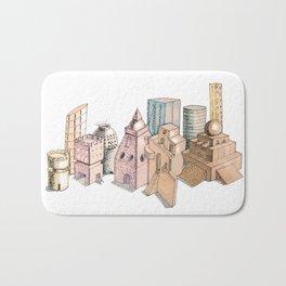 the city painted in pastel colours . illustration . art Bath Mat