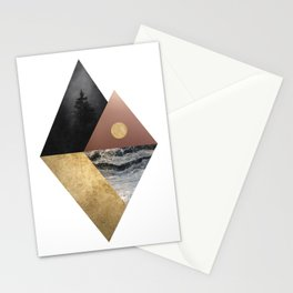 Night and Day Modern Scandinavian Abstract Stationery Cards