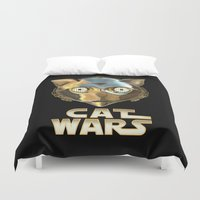 c3po Duvet Covers featuring Cat Wars C3PO by Detullio Pasquale