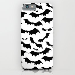 Halloween print. Black bats on white background. iPhone Case