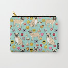 pug emoji dog breed pattern Carry-All Pouch