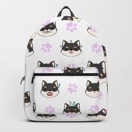 Chibi Shiba's black & tan Backpack